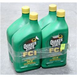 LOT OF 4 QUAKER STATE FCI MOTOR OIL, SAE 50