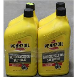 LOT OF 4 PENNZOIL MOTORCYCLE OIL SAE 10W-40
