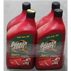 LOT OF 4 QUAKER STATE HIGH MILAGE OIL, SAE 5W-30