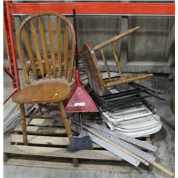 PALLET OF CHAIRS, DRYWALL T-SQUARES AND MORE