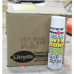 CASE OF 12 CANS CLEAR WEB BOND SPRAY ADHESIVE