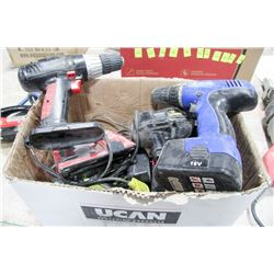 BOX OF ASSORTED CORDLESS DRILLS & VARIOUS