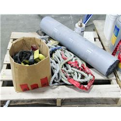 PALLET OF MISC, INCLUDES ROPES AND MORE