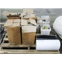 PALLET OF ROLLS OF ROOFING VINYL, NAILS AND MORE