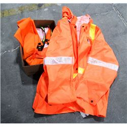 RAINPRO HI-VIS JACKET AND BIB PANTS, SIZE XL