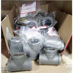 BOX OF ASSORTED LARGE CAST PIPE FITTINGS