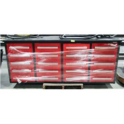 16 DRAWER TOOLBOX WITH WORK TOP, 88 X 26 X 36