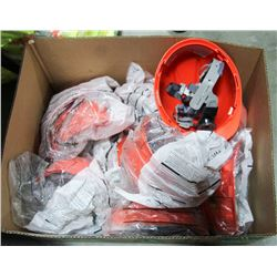 BOX OF 10 NEW ORANGE HARD HATS