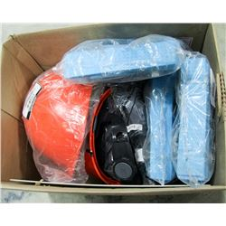 BOX OF 3 HARD HATS WITH 3 BAGS OF COOLING BANDS