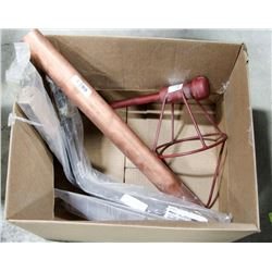 BOX OF MISC, INCLUDES 2FT LENGTH OF COPPER PIPE