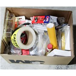 BOX OF MISC, INCLUDES CAUTION TAPE, NEW HARDWARE