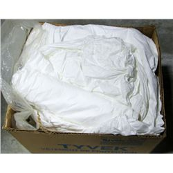 BOX OF DISPOSABLE HOODED WHITE COVERALLS,