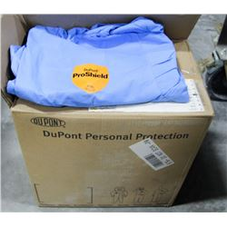 CASE OF DISPOSABLE BLUE HOODED COVERALLS, SZ XL