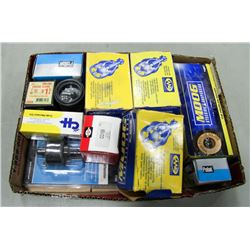 BOX OF ASSORTED NEW AUTO PARTS, INCLUDES BALL