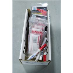 BOX OF PAINT PENS, GLASS MAGNIFIER PLATES & MORE