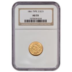 1861 $2.5 Liberty Head Type 2 Gold Coin NGC AU55