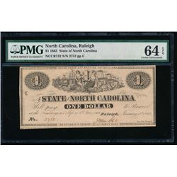 1863 $1 State of North Carolina Note PMG 64EPQ