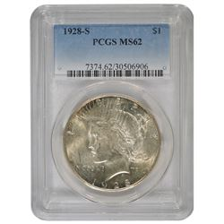 1928-S $1 Peace Silver Dollar Coin PCGS MS62