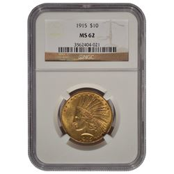 1915 $10 Indian Head Eagle Gold Coin NGC MS62