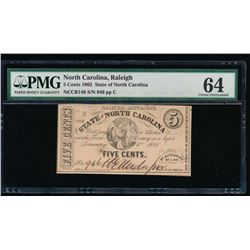 1863 Five Cent State of North Carolina Note PMG 64