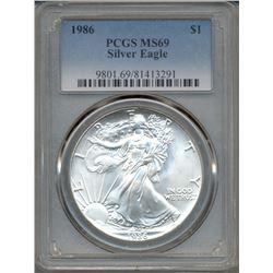 1986 $1 American Silver Eagle Coin PCGS MS69