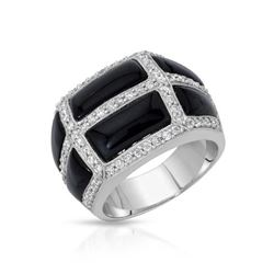 18KT White Gold 4.41ctw Onyx and Diamond Ring