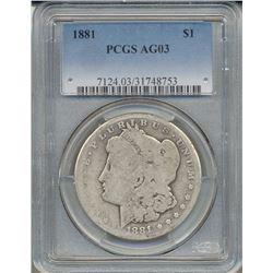 1881 $1 Morgan Silver Dollar Coin PCGS AG03