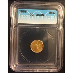1855 $1 Type 2 Gold Coin ICG AU55