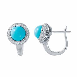 14KT White Gold 2.42ctw Turquoise and Diamond Earrings