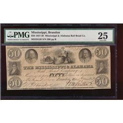 1837 $50 Mississippi and Alabama Obsolete Note PMG 25