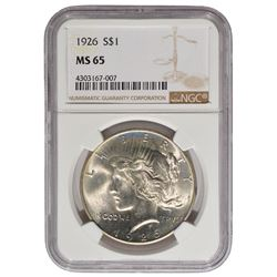 1926 $1 Peace Silver Dollar Coin NGC MS65