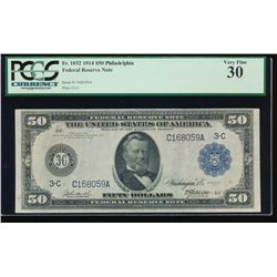 1914 $50 New York Federal Reserve Note PCGS 30