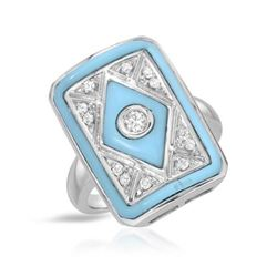 14KT White Gold 1.04ctw Turquoise and Diamond Ring