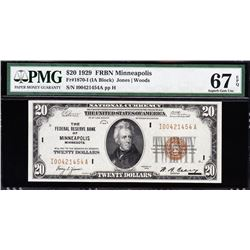 1929 $20 Minneapolis Federal Reserve Bank Note PMG 67EPQ
