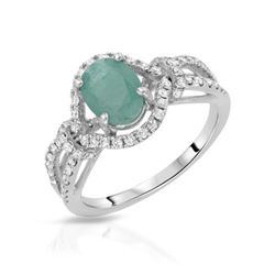 14KT White Gold 1.20ct Emerald and Diamond Ring