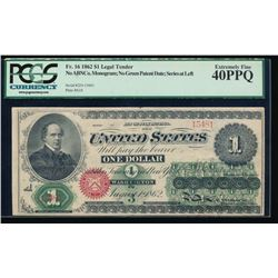 1862 $1 Legal Tender Note PCGS 40PPQ