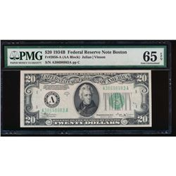 1934B $20 Boston Federal Reserve Note PMG 65EPQ