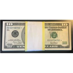 100 Consecutive 2001 $10 Federal Reserve Star Notes