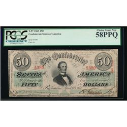 1863 $50 Confederate States of America Note PCGS 58PPQ