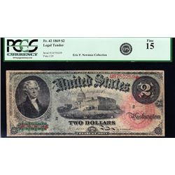 1869 $2 Rainbow Legal Tender Star Note PCGS 15