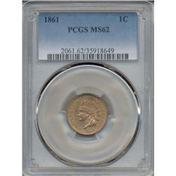 1861 Indian Head Cent PCGS MS62