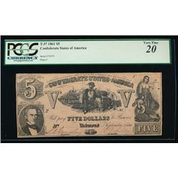 1861 $5 Confederate States of America Note PCGS 20