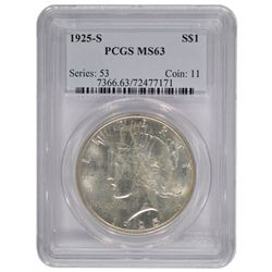 1925-S $1 Peace Silver Dollar Coin PCGS MS63