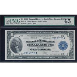 1918 $1 Kansas City Federal Reserve Bank Note PMG 65