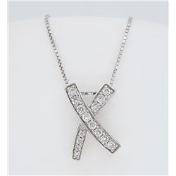14KT White Gold 0.22ctw Diamond Pendant with Chain