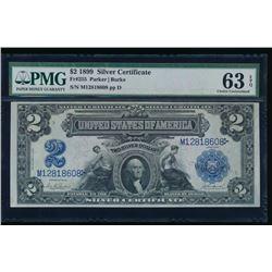 1899 $2 Mini Porthole Silver Certificate PMG 63EPQ