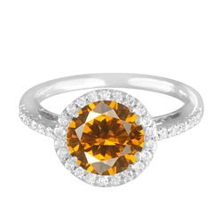 14KT White Gold 2.04ct Citrine and Diamond Ring
