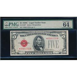 1928C $5 Legal Tender Star PMG 64