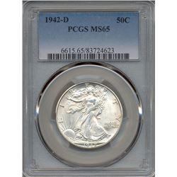 1942-D Walking Liberty Half Dollar Coin PCGS MS65