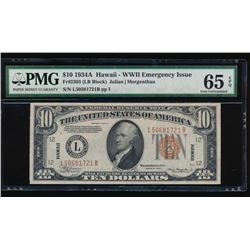 1934A $10 Hawaii Federal Reserve Note PMG 65EPQ